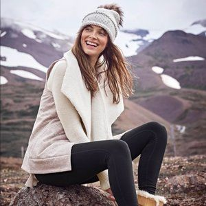 ATHLETA Apres Anything Sherpa Vest Oatmeal